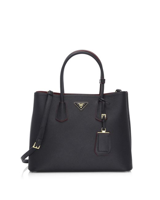 Prada | Black Saffiano Cuir Large Double Bag | Lyst