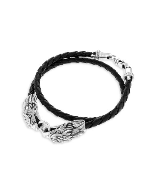 King Baby Studio | Metallic Sterling Silver Leather Double Eagle Braided Bracelet | Lyst
