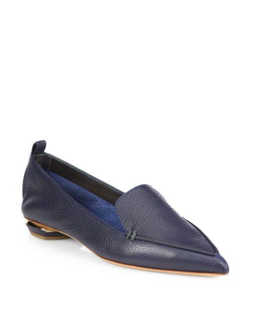 Nicholas Kirkwood - Blue Beya Pebbled Leather Point-toe Loafers - Lyst