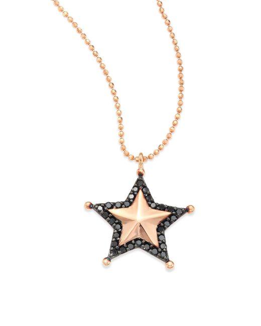 Kismet by Milka - Metallic Sherriff Star Black Diamond & 14k Rose Gold Pendant Necklace - Lyst