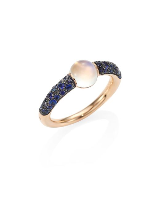 Pomellato - Metallic M'ama Non M'ama Blue Sapphire, Moonstone & 18k Rose Gold Ring - Lyst