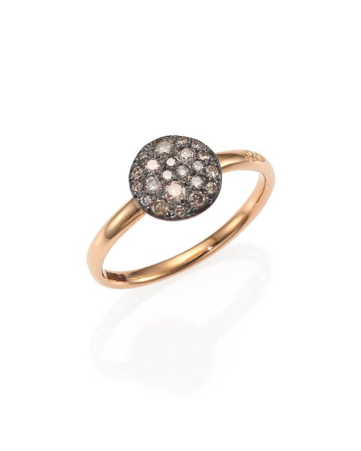 Pomellato - Pink Sabbia Brown Diamond & 18k Rose Gold Small Ring - Lyst
