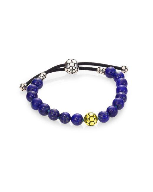 John Hardy   Blue Dot Lapis Lazuli & Sterling Silver Bead Bracelet   Lyst
