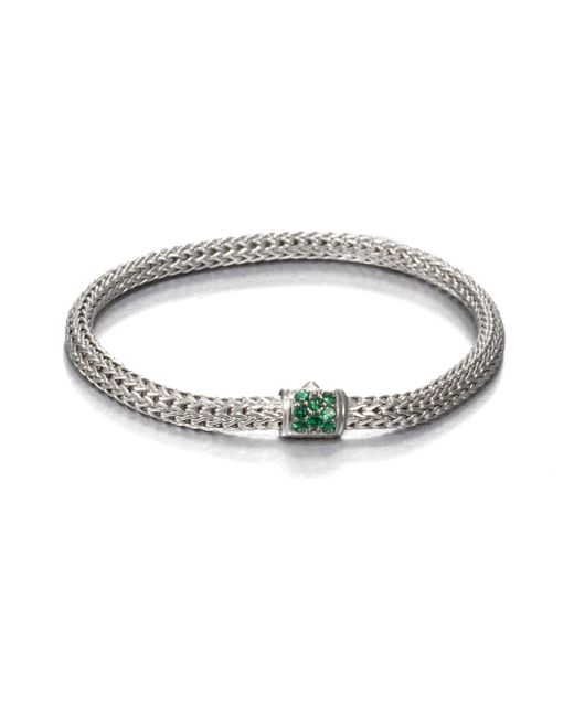 John Hardy | Metallic Classic Chain Tsavorite & Sterling Silver Extra-small Bracelet for Men | Lyst