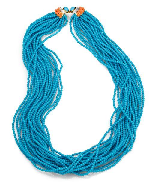 Kenneth Jay Lane | Blue Long Multi-strand Beaded Necklace | Lyst