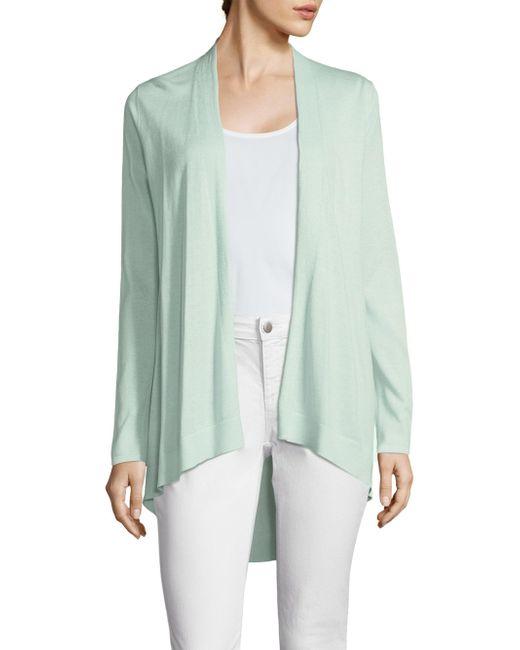 Eileen Fisher | Green Organic Silk-shaped Open Cardigan | Lyst