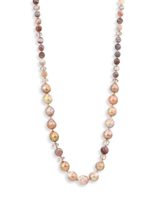Chan Luu - Pink 6-10mm Pearl, Pyrite & Mystic Lab Strand Necklace - Lyst