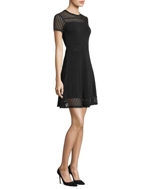 MICHAEL Michael Kors | Black Mesh Accented Roundneck Dress | Lyst