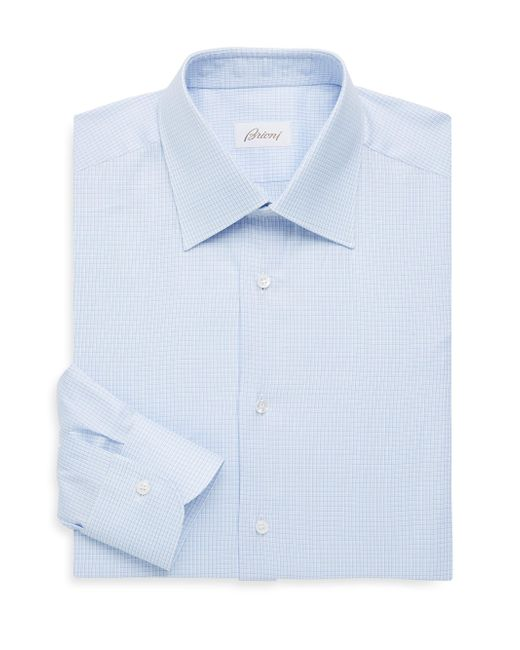 Brioni - Blue Regular-fit Micro Check Cotton Dress Shirt for Men - Lyst