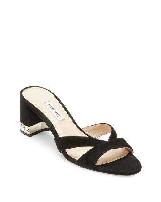 Miu Miu - Black Crystal Block Heel Sandals - Lyst