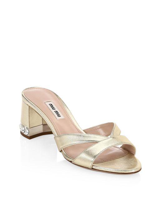 Miu Miu - Black Crystal Block-heel Sandals - Lyst