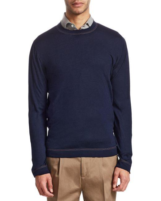 Brunello Cucinelli - Blue Cotton Crewneck Pullover for Men - Lyst