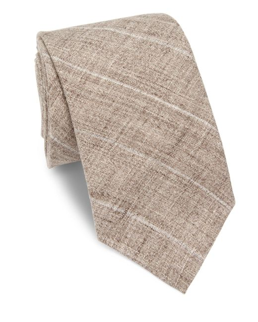 Brunello Cucinelli   Brown Diagonal Striped Tie for Men   Lyst