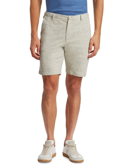 Saks Fifth Avenue - White Modern Heather Modern-fit Cotton Shorts for Men - Lyst