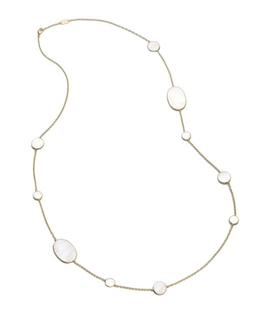 Ippolita - Metallic Polished Rock Candy Mother-of-pearl & 18k Yellow Gold Station Necklace - Lyst