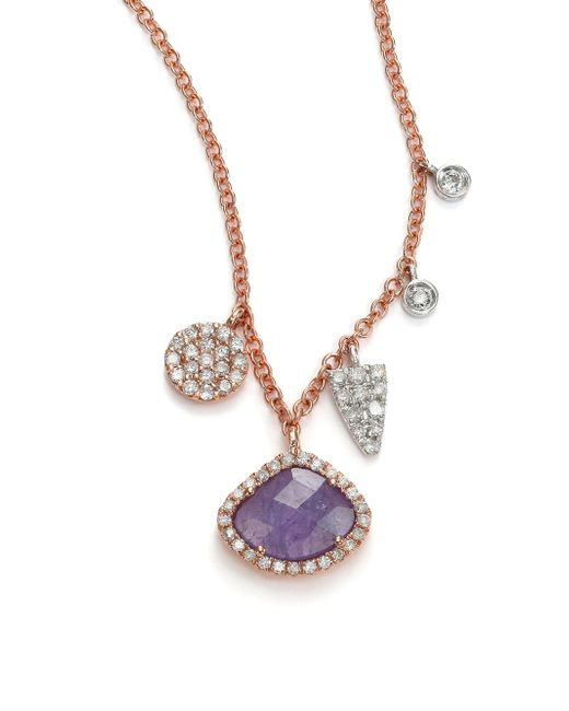 Meira T - Purple Tanzanite, Mother-of-pearl, Diamond & 14k Rose Gold Doublet Pendant Necklace - Lyst