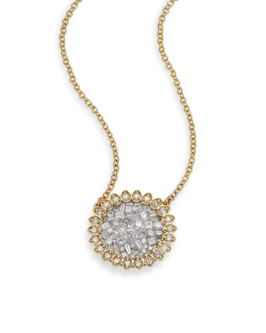 Plevé - Metallic Ice Diamond & 18k Yellow Gold Mini Flower Pendant Necklace - Lyst
