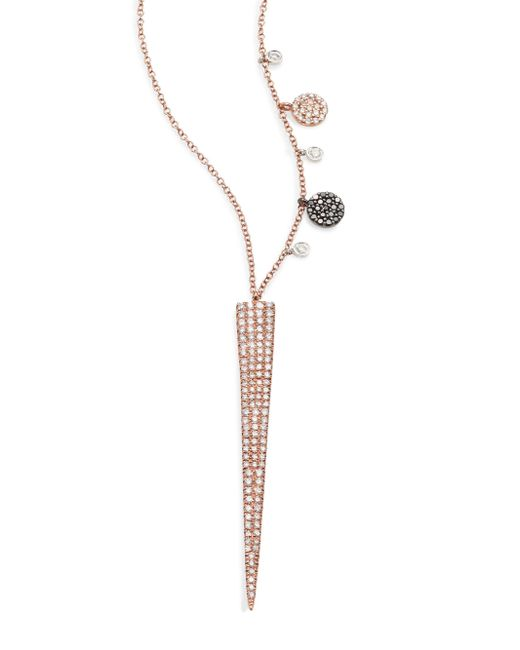 Meira T - Pink Diamond & 14k Yellow Gold Spike Pendant Necklace - Lyst
