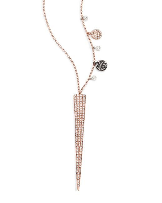 Meira T | Pink Diamond & 14k Yellow Gold Spike Pendant Necklace | Lyst