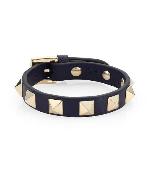 Valentino - Blue Rockstud Wraparound Leather Bracelet - Lyst