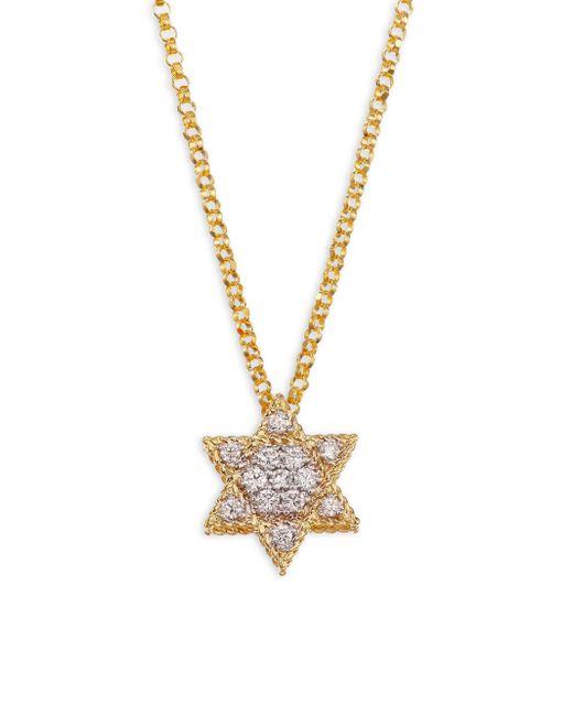 Roberto Coin - Metallic Diamond & 18k Yellow Gold Star Of David Necklace - Lyst