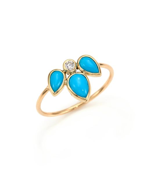 Zoe Chicco   Blue Diamond, Turquoise & 14k Yellow Gold Ring   Lyst