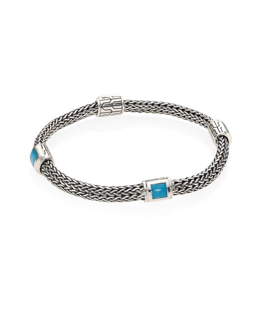 John Hardy | Metallic Classic Chain Extra Small Turquoise & Sterling Silver Four-station Bracelet | Lyst
