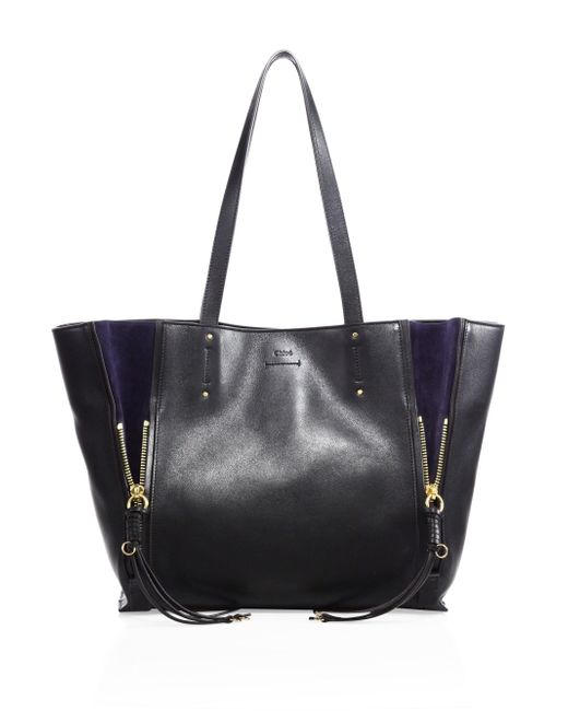 Chloé - Black Milo Leather & Suede Tote - Lyst