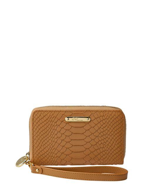 Gigi New York | Brown Python-embossed Leather Phone Wristlet | Lyst