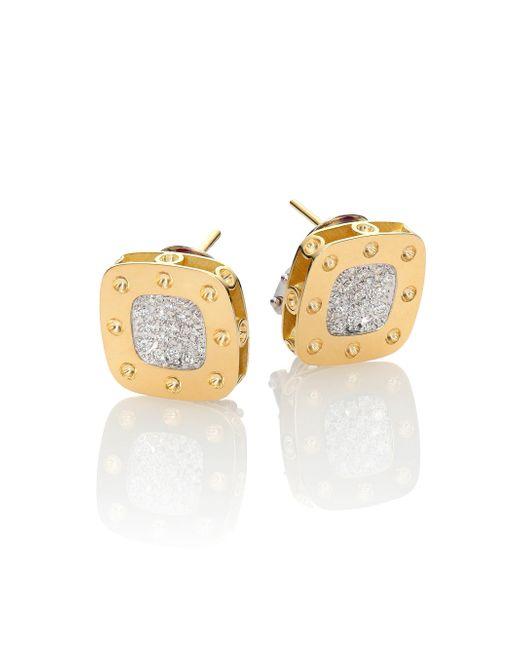 Roberto Coin | Metallic Pois Moi Diamond & 18k Yellow Gold Stud Earrings | Lyst