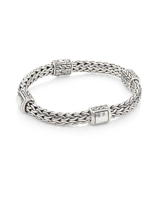 John Hardy - Metallic Classic Chain Hammered Silver Medium Four Station Bracelet - Lyst