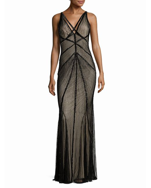 Rachel Gilbert - Black Lucy Embellished V-back Gown - Lyst