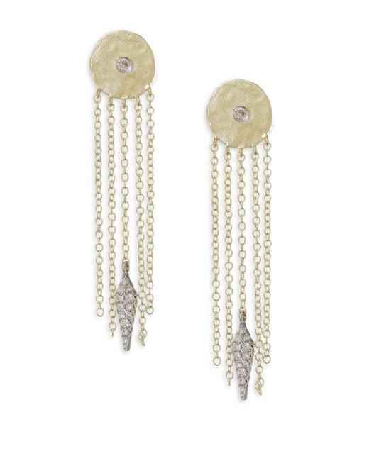 Meira T - Metallic Diamond Disc Chain Fringe Earrings - Lyst