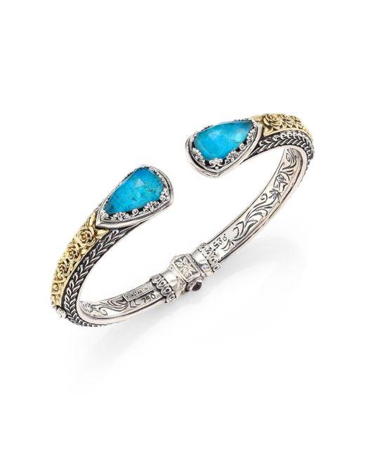 Konstantino - Metallic Women's Iliada Chrysocolla, Quartz, 18k Yellow Gold, Sterling Silver Cuff Bracelet - Turquoise - Lyst