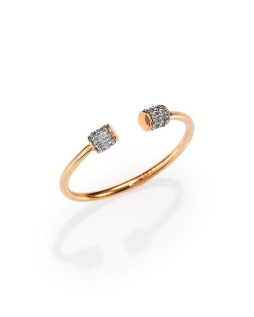Ginette NY | Metallic Diamond & 18k Rose Gold Choker Open Ring | Lyst