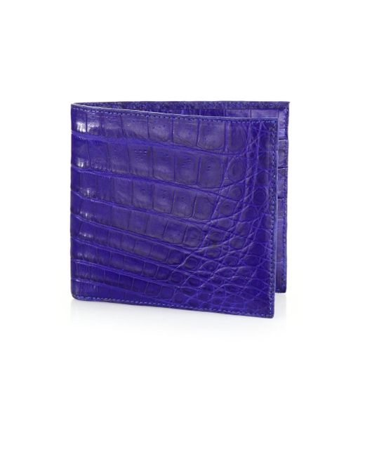 Santiago Gonzalez - Blue Crocodile Billfold Wallet for Men - Lyst