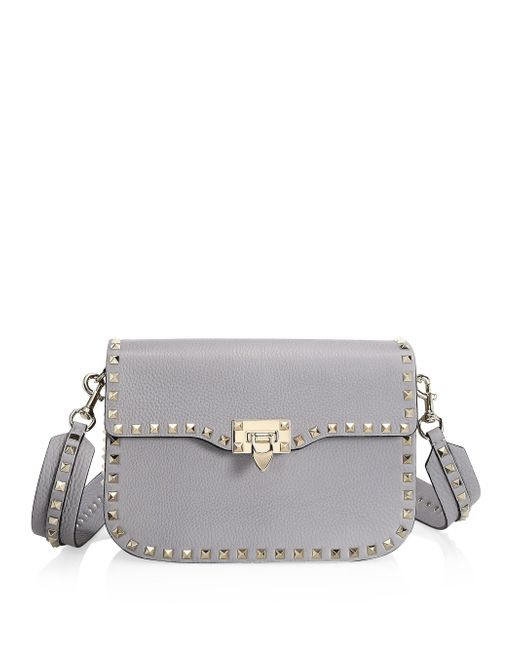 Valentino Gray Rockstud Leather Shoulder Bag