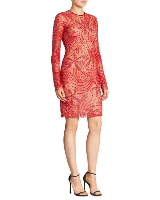 Naeem Khan | Red Long Sleeve Beaded Dress | Lyst