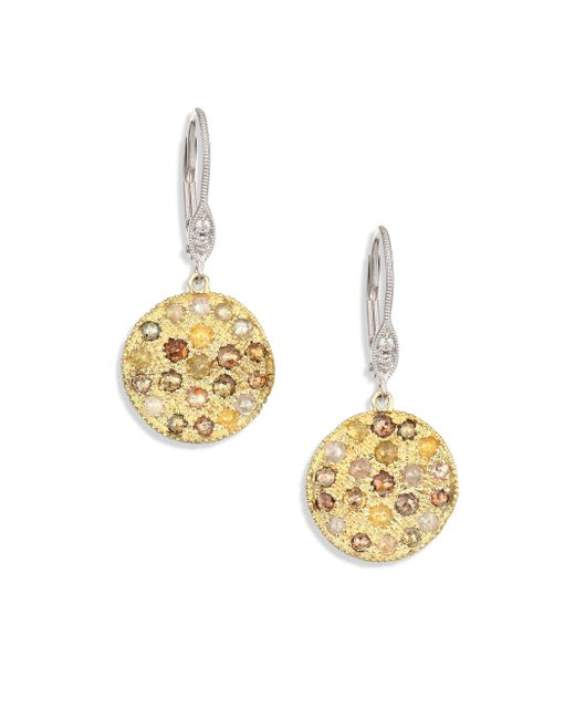 Meira T - Metallic Women's White Diamond, Rough Diamond, 14k Yellow Gold & 14k White Gold Drop Earrings - Gold Multi - Lyst