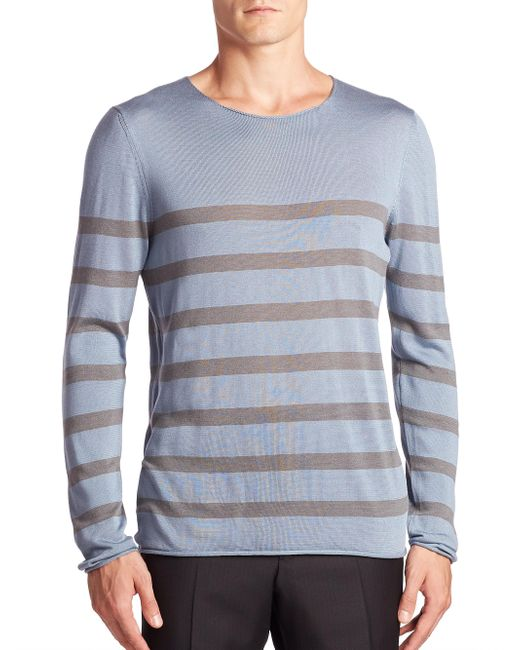 Giorgio Armani - Blue Striped Cotton, Silk & Cashmere Sweater for Men - Lyst
