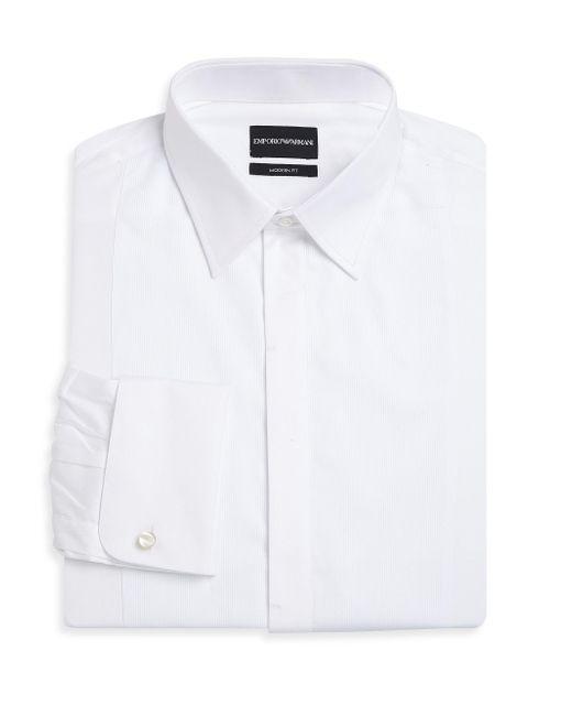 Emporio Armani - White Basic Solid Cotton Tuxedo Shirt for Men - Lyst