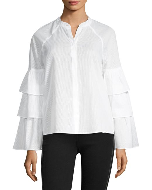BCBGMAXAZRIA - White Tiered Ruffle Sleeve Blouse - Lyst