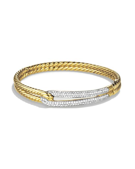 David Yurman | Metallic Labyrinth Diamond 18k Yellow Gold Bangle Bracelet | Lyst