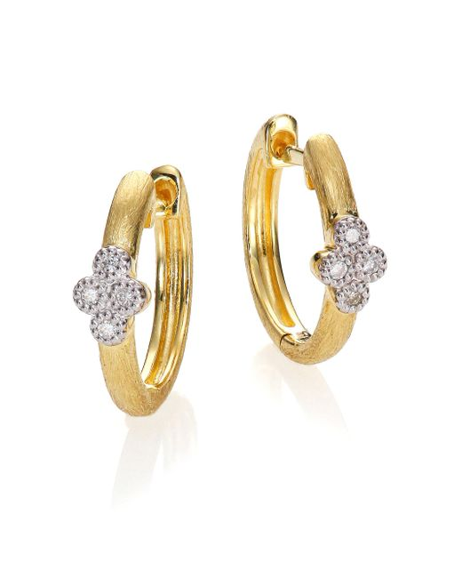 Jude Frances | Metallic Provence Diamond & 18k Yellow Gold Small Hoop Earrings/0.65 | Lyst