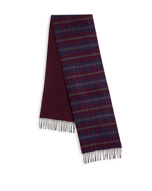 Saks Fifth Avenue - Purple Johnstons Of Elgin Plaid Merino Wool & Cashmere Scarf for Men - Lyst