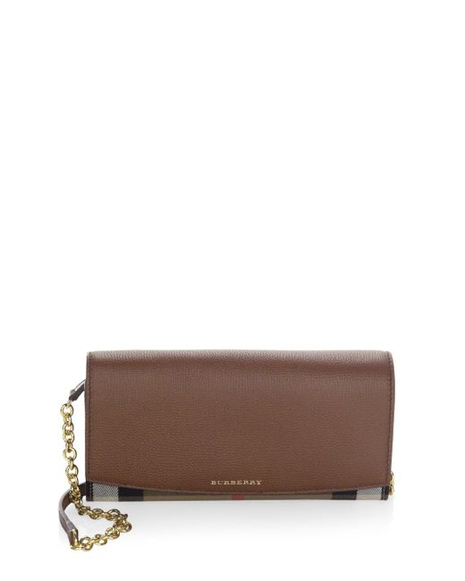 Burberry   Brown Signature Plaid Henley Wallet With Chain Strap   Lyst
