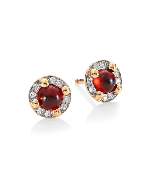 Pomellato - Metallic M'ama Non M'ama 18k Rose Gold Garnet & Diamond Stud Earrings - Lyst