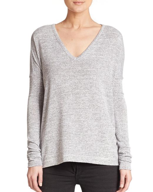 Rag & Bone - Gray Theo Long-sleeve V-neck Tee - Lyst