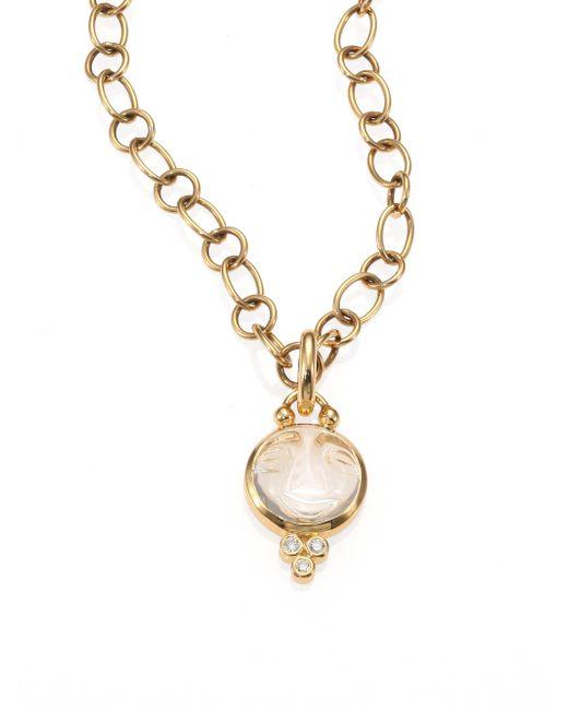 Temple St. Clair - Metallic Celestial Rock Crystal, Diamond & 18k Yellow Gold Small Moonface Pendant - Lyst