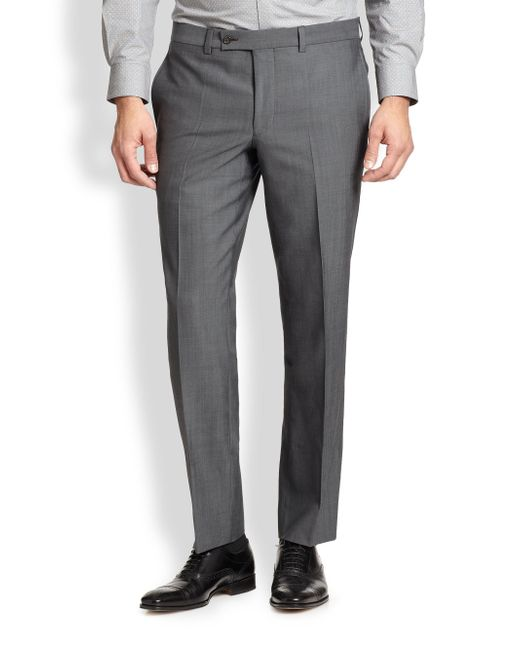 Saks Fifth Avenue - Gray Modern-fit Wool Trousers for Men - Lyst